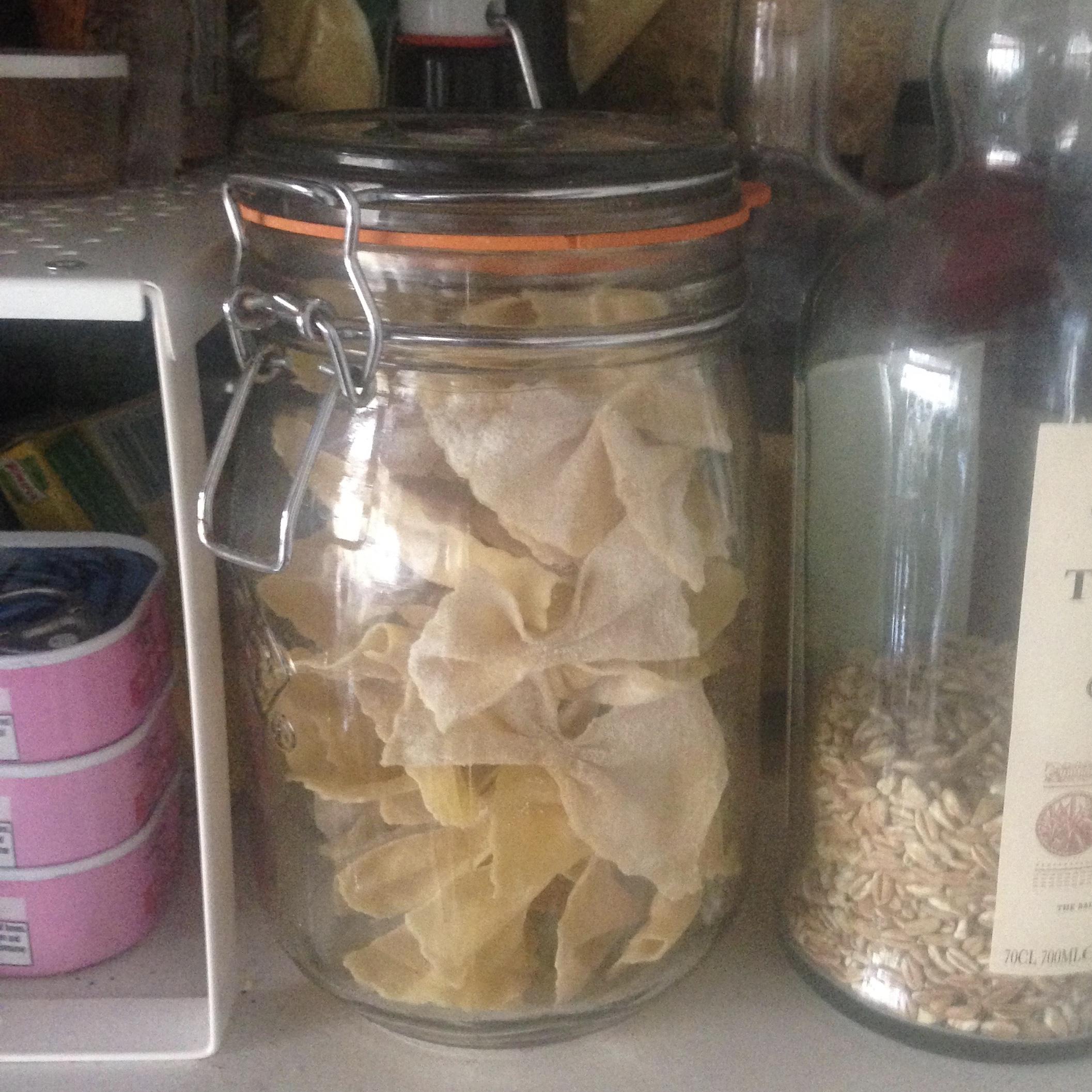 A jar of homemade farfalle