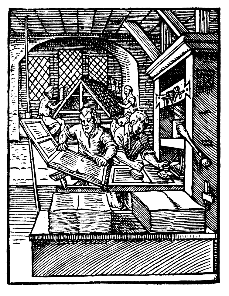 16th century woodcut of a Gutenberg press in use